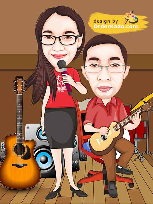 Jasa Karikatur Anniversary Murah 03 - Penyanyi Gitaris