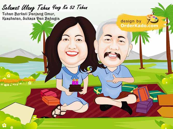 Jasa Karikatur Anniversary Murah 08 - piknik
