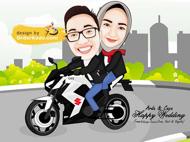Jasa Karikatur Anniversary Murah 09 - Couple Sepeda Motor