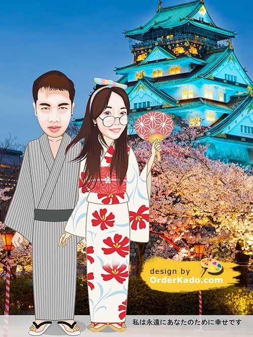 Jasa Karikatur Anniversary Murah 12 - Baju Korea