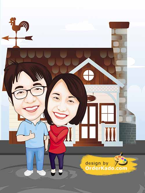 Jasa Karikatur Anniversary Murah 15 - Couple