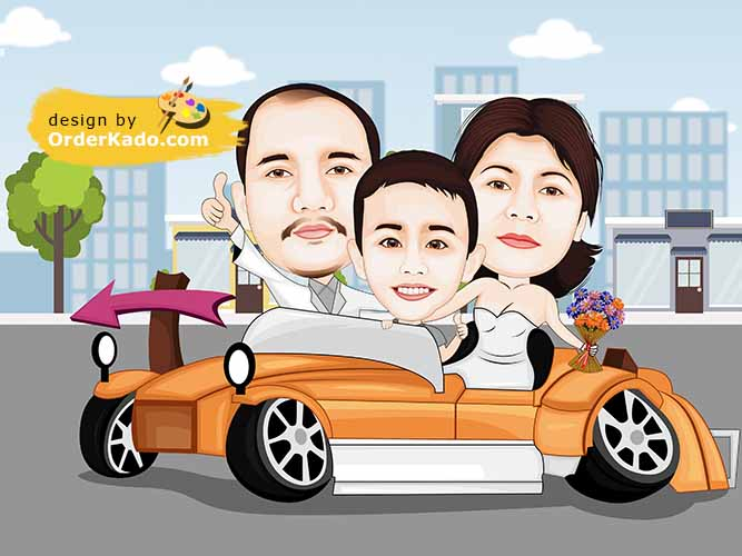 Jasa Karikatur Family Murah