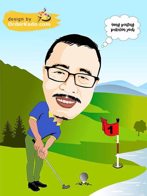 Jasa Karikatur Golf Murah 01