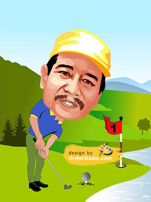 Jasa Karikatur Golf Murah 06
