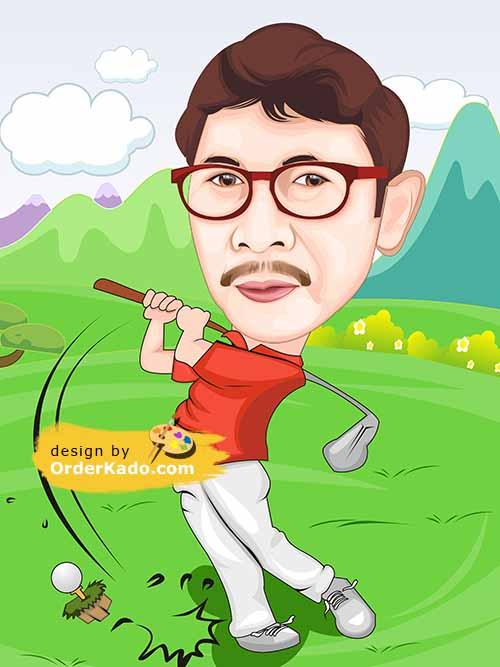 Jasa Karikatur Golf Murah 07