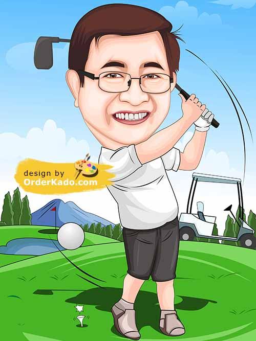 Jasa Karikatur Golf Murah 08