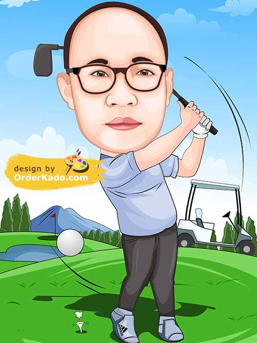 Jasa Karikatur Golf Murah 09