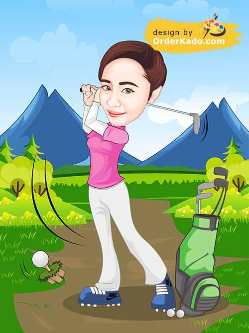 Jasa Karikatur Golf Murah