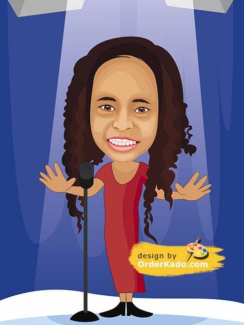 Jasa Karikatur Ulang Tahun Murah 05 - Penyanyi