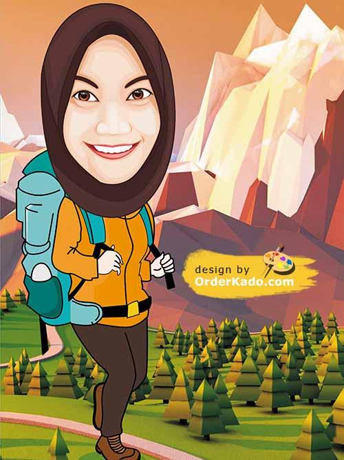 Jasa Karikatur Ulang Tahun Murah 23 - Pendaki