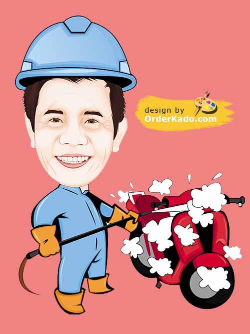 Jasa Karikatur Ulang Tahun Murah 30 - Cuci Motor